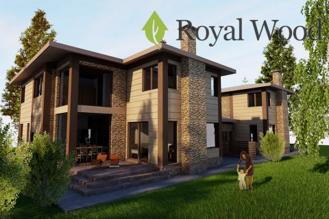 Проект дома по технологии timber frame на две семьи «Терфорд» — 213/427 м²