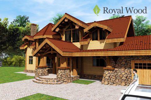 Проект дома из массива кедра ручной рубки «Тахо» — 402 м²